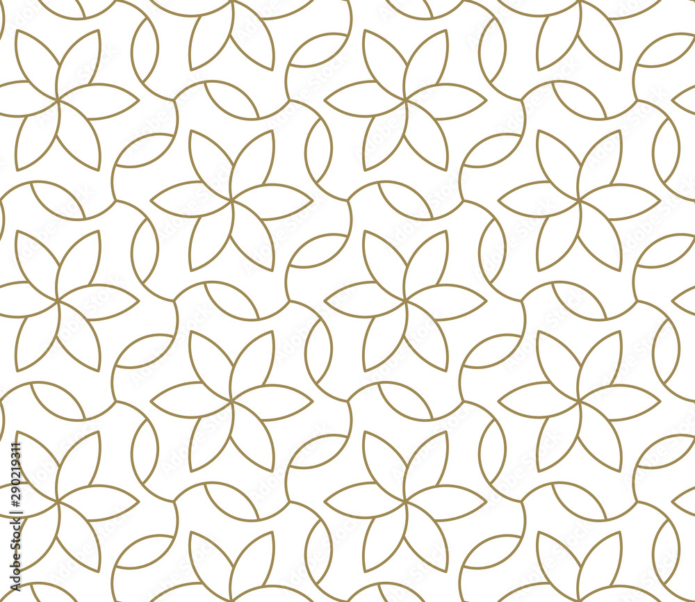Fototapeta Seamless pattern with abstract geometric line texture, gold on white background. Light modern simple wallpaper, bright tile backdrop, monochrome graphic element