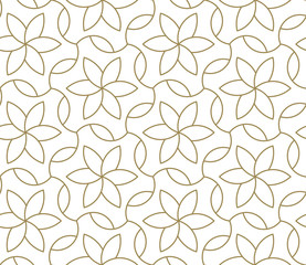 Seamless pattern with abstract geometric line texture, gold on white backgrou...