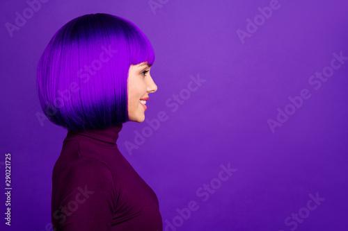 Fototapeta Profile photo of stylish lady looking empty space wear turtleneck isolated purple background obraz na płótnie