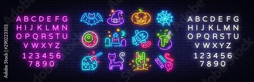 Fototapeta Halloween neon icons set. Happy Halloween collection neon signs. Bright sign boards, light banner. Modern trend design, night light signboard, emblems, design template. Vector Illustration obraz