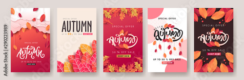 Foto  Autumn sale background layout decorate with leaves for shopping sale or promo poster and frame leaflet or web banner