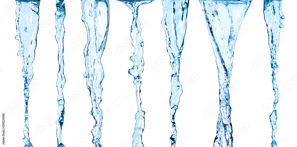 Fototapety, obrazy: Collection of streams of water on an isolated white background