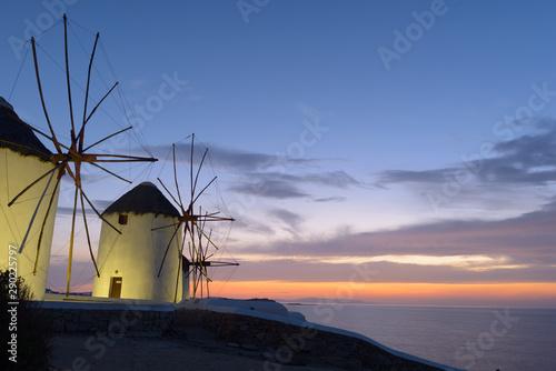 Windmills of Mykonos at dusk