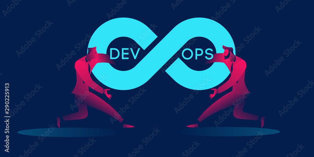 Fototapety, obrazy: Devops concept business illustration in red and blue neon gradients