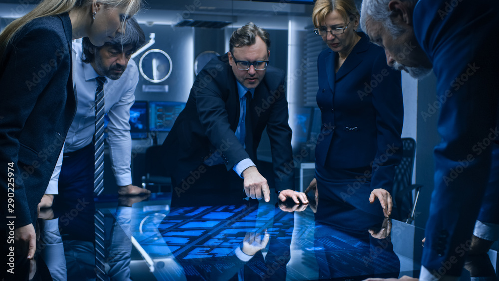Fototapety, obrazy: Diverse Team of Corporate Businesspeople Have Heated Discussion While Standing Around the Digital Touch Screen Table. Board of Directors of Import / Export Company Have Meeting.