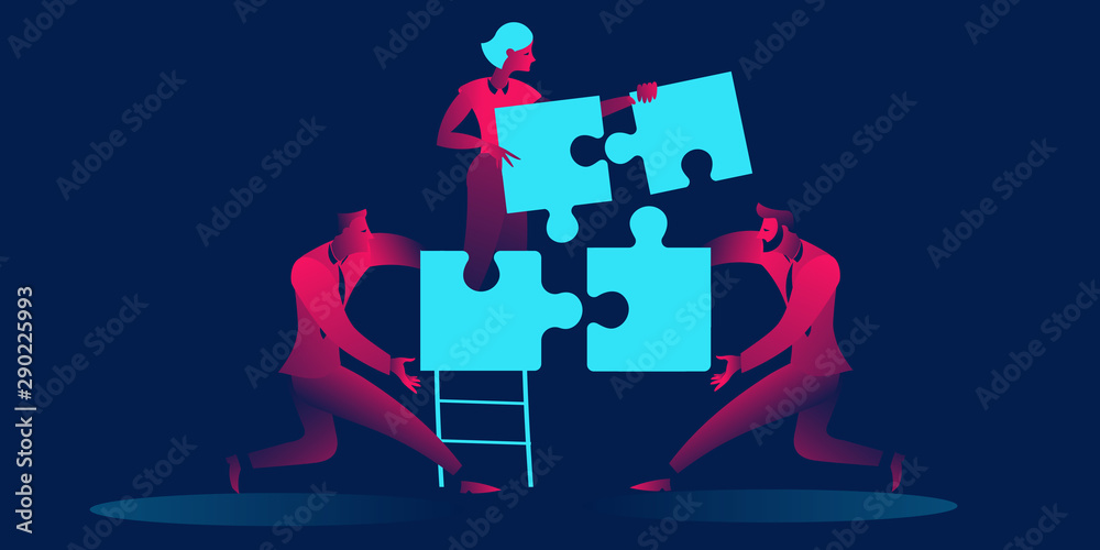 Fototapeta Team concept, people connecting puzzle elements in red and blue neon gradients. Symbol of teamwork, cooperation, partnership