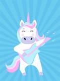 Funny unicorn plays guitar. Cartoon character. Vector illustration