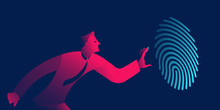 Fingerprint Recognition, Biometric Authentication, Identification Business Concept In Red And Blue Neon Gradients