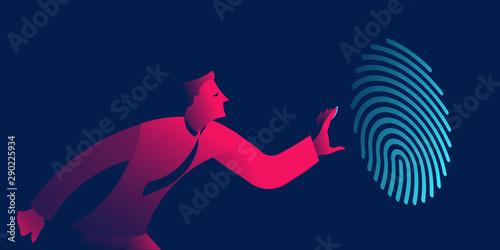 Photo Fingerprint recognition, biometric authentication, identification business conce