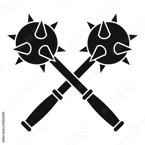 Fototapeta Crossed mace icon. Simple illustration of crossed mace vector icon for web design isolated on white background obraz