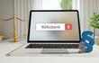 Volksbank – Laptop Monitor im Büro mit Begriff im Suchfeld. Paragraf und Waage. Recht, Gesetz, Anwalt.