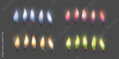 Fotografie, Obraz  Candle Flame Set