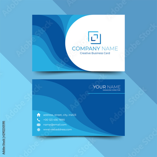 Modern blue business card design template, design vector illustration