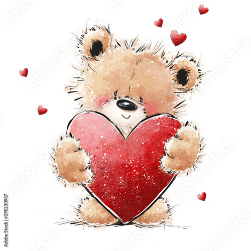 Cute Teddy Bear in love with big red heart Wallpaper Mural
