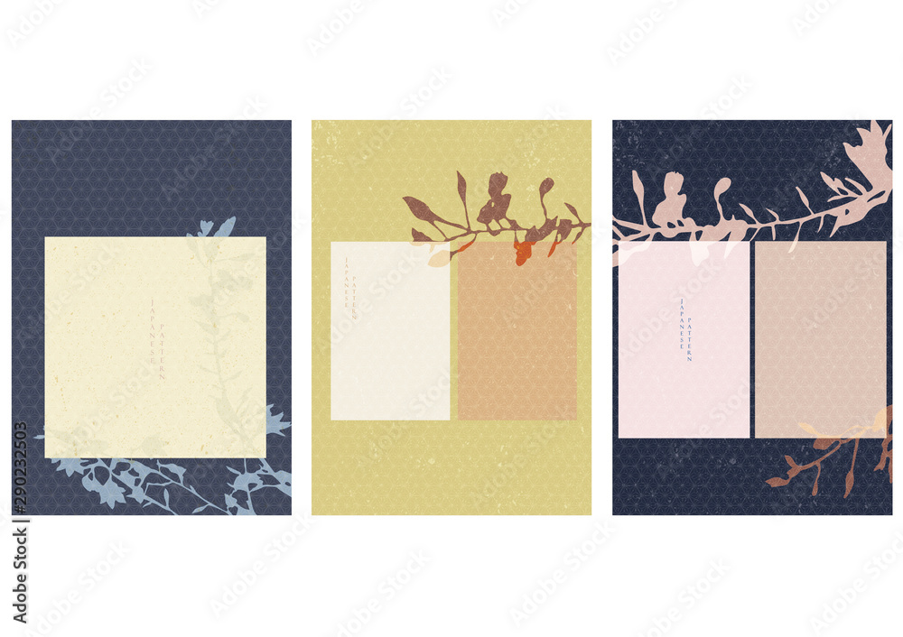 Fototapeta Flower background with Japanese pattern vector. Template design with branch leaf elements.