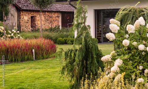 Fototapeta Nowoczesny piękny ogród. połączenie nowego ze starym  nowoczesny dom na wsi obraz