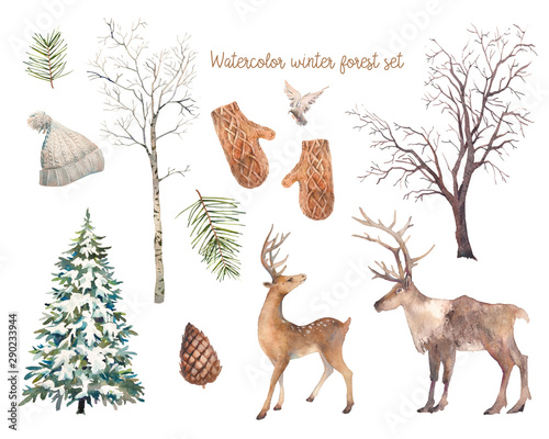 Winter trees and animals set. Watercolor silhouettes of snow covered Christmas tree, birch and elm, deers, bird, pinecone. Wall mural
