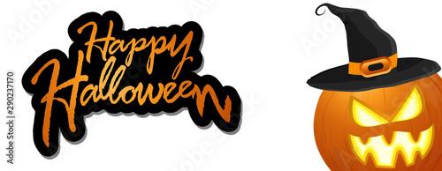 Photo halloween pumpkin with hat