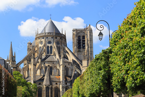 Apse of the Cathedral Saint-Etienne of Bourges in the spring Canvas Print