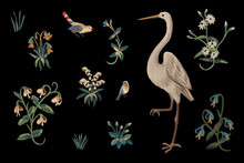 Drawn Spring Clip Art Birds And Flowers Set. Illustration In Medieval Tapestries Style On Black Background