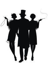 Silhouette Of Two Flapper Girl...