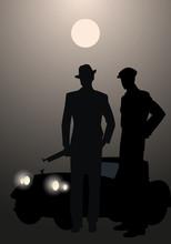 Retro Style Men Silhouettes, W...