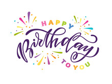 Happy Birthday To You - Cute Template Hand Drawn Doodle Lettering Postcard Banner Art