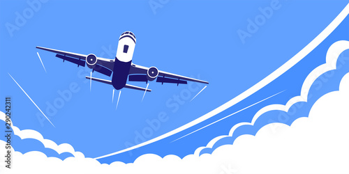 Fotografía  airplane flying over the clouds, flat design