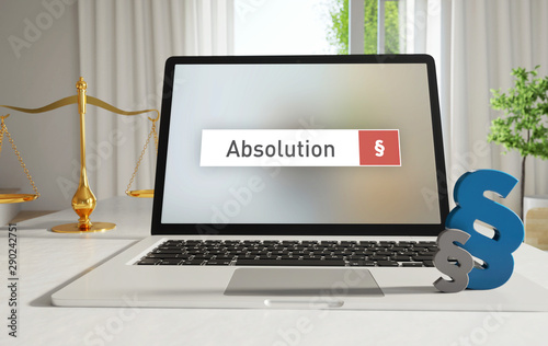 Absolution – Laptop Monitor im Büro mit Begriff im Suchfeld Canvas Print