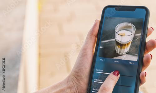 Obraz na plátne Photo edit with mobile phone and smart app