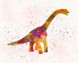 Brachiosaurus dinosaur in watercolor