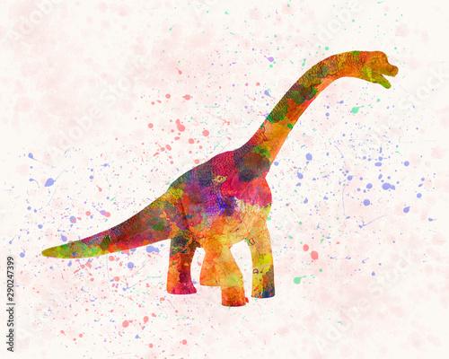Fototapeta Brachiosaurus dinosaur in watercolor