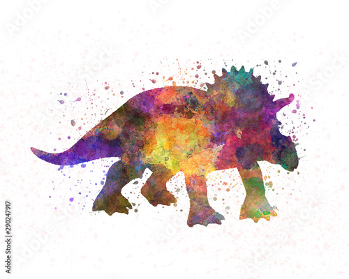 Triceratops dinosaur in watercolor