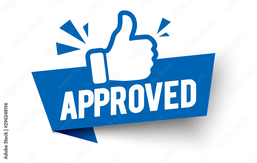 Fototapeta Vector illustration approved label flag with thumbs up icon.