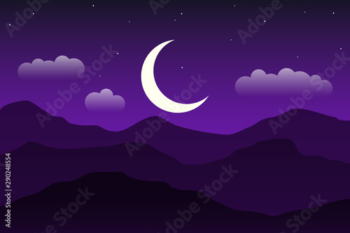 Mountain landscape. Night landscape with the moon.