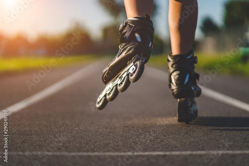 Fotografia Roller skates during inline skating outdoors