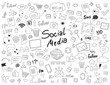 Hand drawn doodle set of social media elements.
