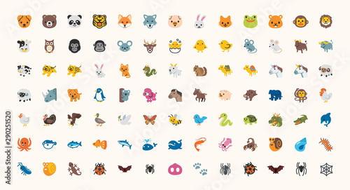 All Animals Vector Icons, Emojis Set. Colored Line Wildlife Symbols. Animal Face, Head Emojis, Emoticons Set, Collection.