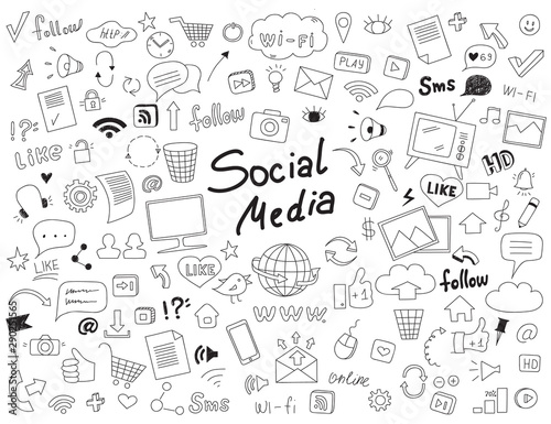 Obraz Hand drawn doodle set of social media elements. - fototapety do salonu