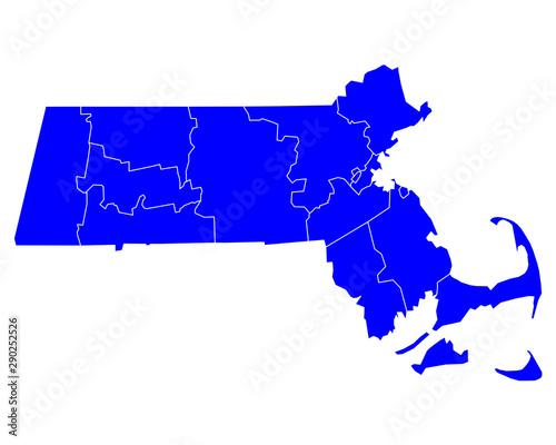 Fototapeta Karte von Massachusetts