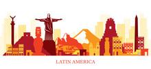 Latin America Skyline Landmarks Colouful Silhouette