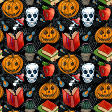Watercolor Halloween Seamless Pattern. Hand Drawn Halloween Holiday Composition With Funny Pumpkins, Books, Spider, Scull, Mushroom And Web On Black Background.