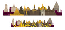 Southeast Asia Skyline Landmarks With Text