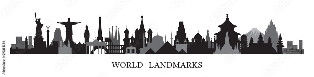 Fototapeta World Skyline Landmarks in Black and White Silhouette