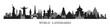 World Skyline Landmarks in Black and White Silhouette