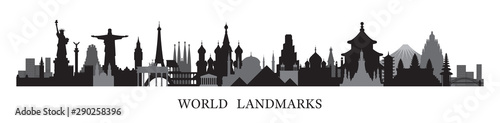 World Skyline Landmarks in Black and White Silhouette Wallpaper Mural