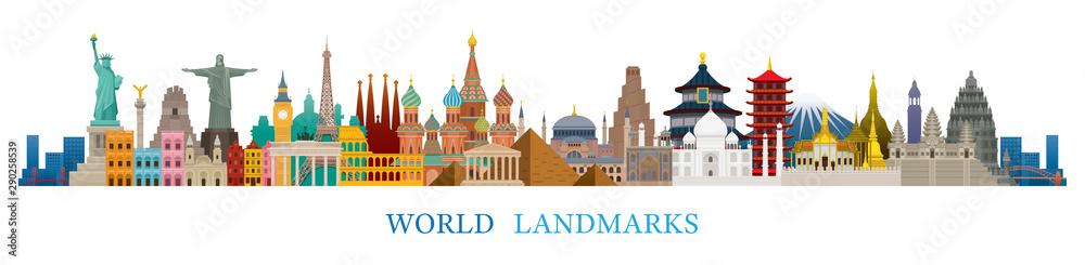 Fototapety, obrazy: World Skyline Landmarks in Flat Design Style