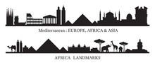 Mediterranean And Africa Skyline Landmarks Silhouette