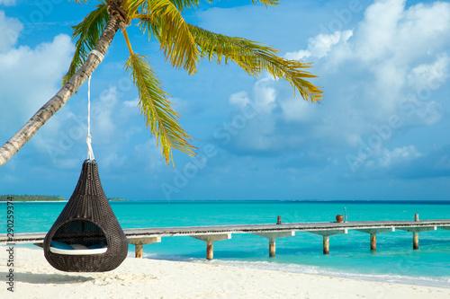 Poster Bleu tropical Maldives island with white sandy beach and sea