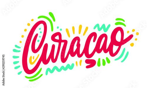 Photo Country Name Written on White Background : Curacao : Vector Illustration